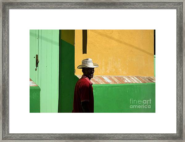 Cuban Man On The Beach Framed Print by Danijel Ljusic