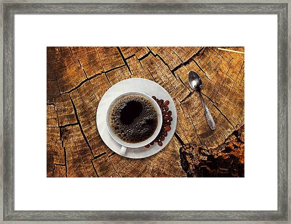 Cup Of Coffe On Wood Framed Print