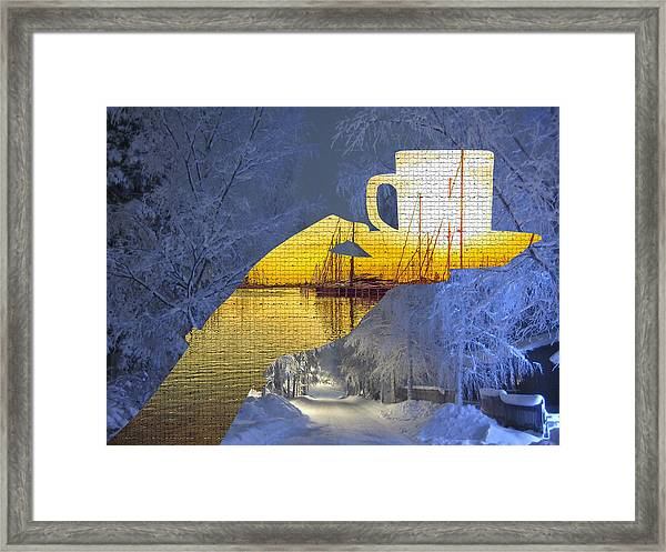 Cup Of Tea In The Winter Evening Framed Print
