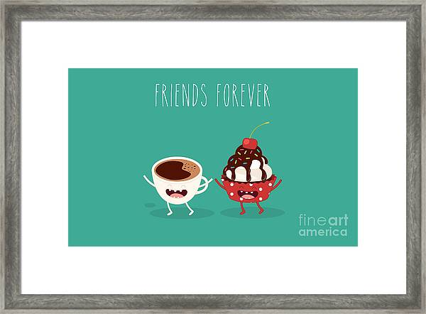 Cupcakes And Cup Coffee. Comic Framed Print