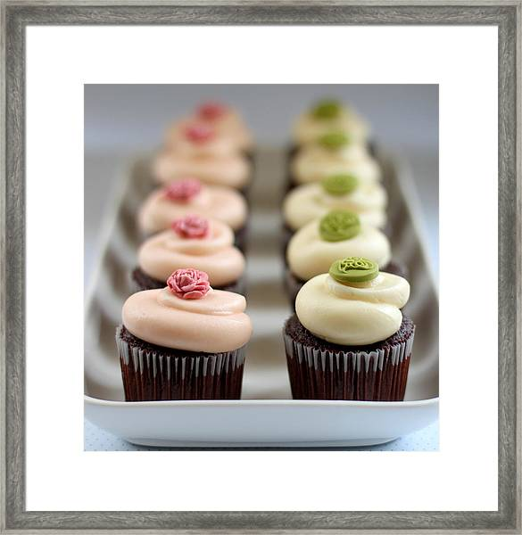 Cupcakes In Line In Tray Framed Print