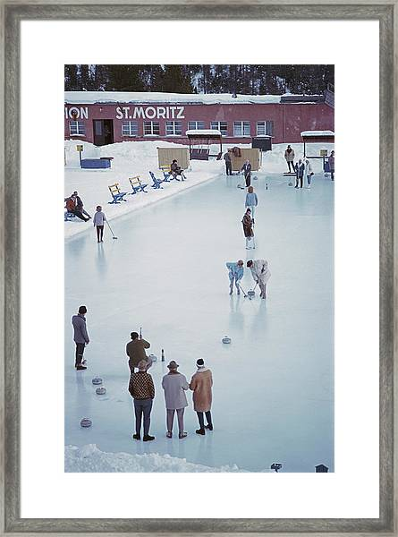Curling At St. Moritz Framed Print