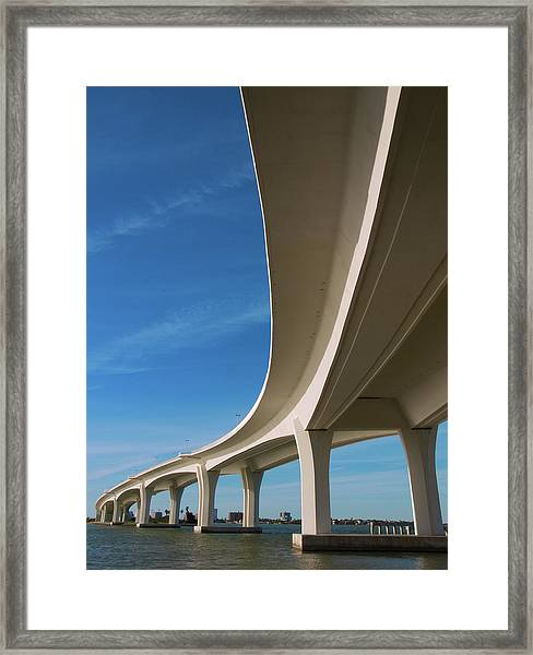 Curved Bridge Overpass Over The Water Framed Print by Dsharpie
