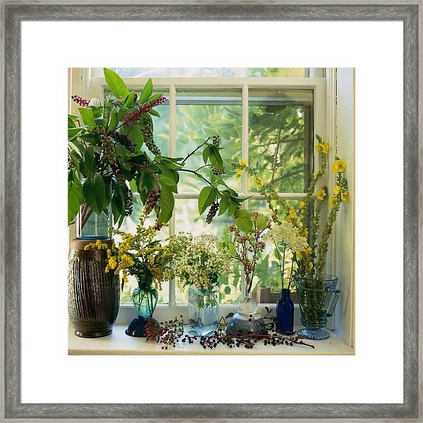 Cut Wild Flowers In Vases On Framed Print by Richard Felber