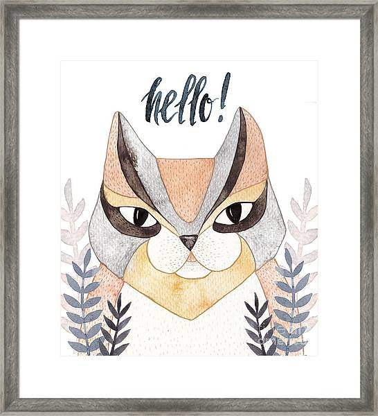 Cute Abstract Cat. Pastel Framed Print