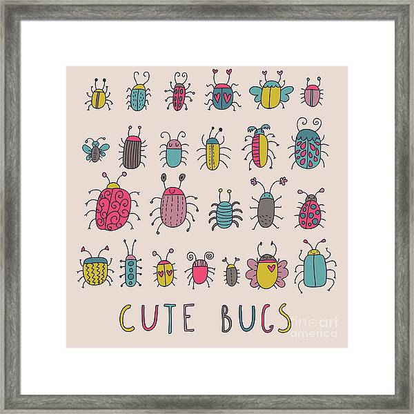 Cute Bugs. Cartoon Insects In Vector Set Framed Print