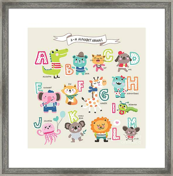 Cute Cartoon Animals Alphabet From A To Framed Print