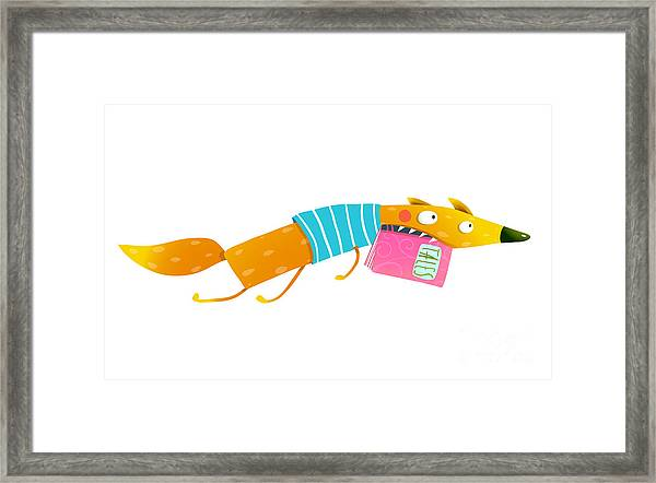 Cute Cartoon Fox Running With Fairy Framed Print