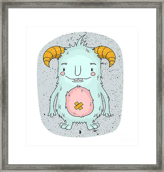 Cute Cartoon Monster With Horns. Kids Framed Print