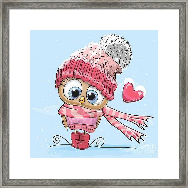 Cute Cartoon Owl In A Hat And Scarf Framed Print