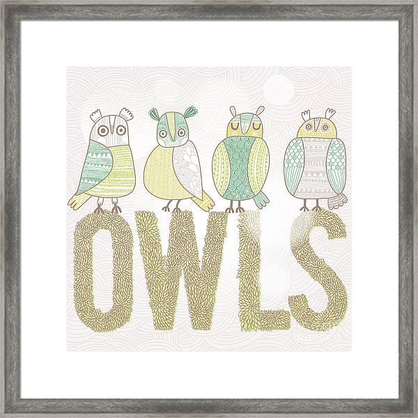 Cute Cartoon Owls In Vector With Text Framed Print