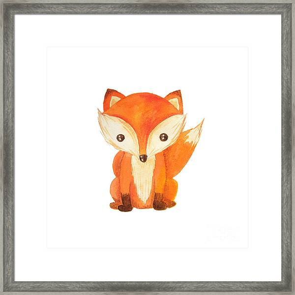 Cute Cartoon Watercolor Forest Animal Framed Print by Zabrotskaya Larysa