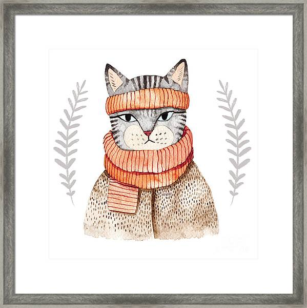 Cute Cat In Scarf .illustration With Framed Print