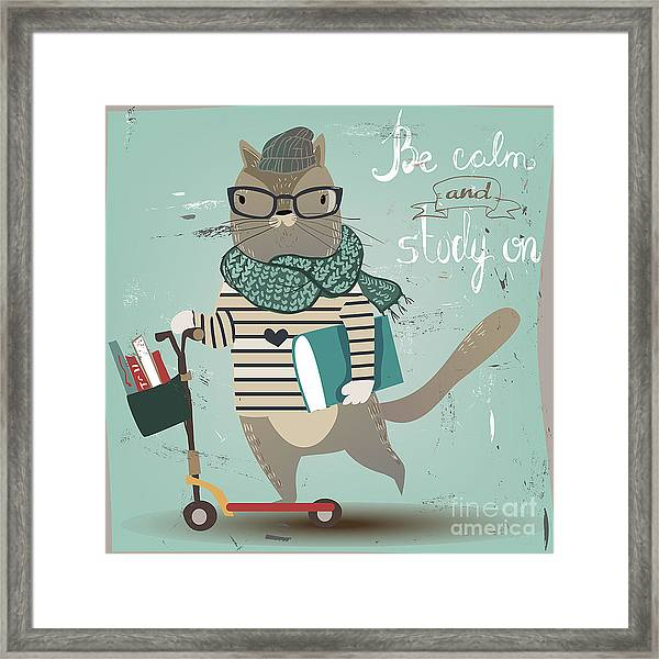 Cute Cat On Scooter Framed Print