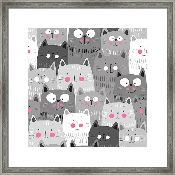 Cute Cats Colorful Seamless Pattern Framed Print