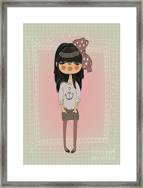 Cute Fashion Little Girl With Frame Framed Print