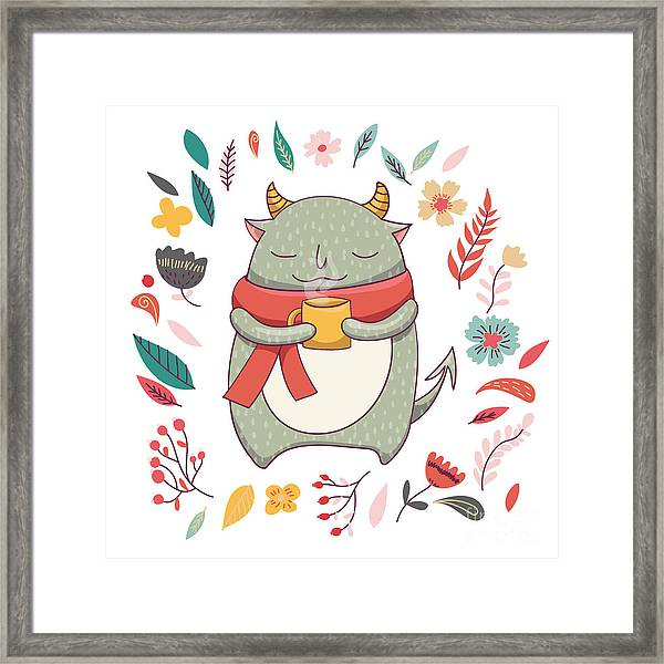 Cute Fluffy Monster In Scarf.with Horns Framed Print