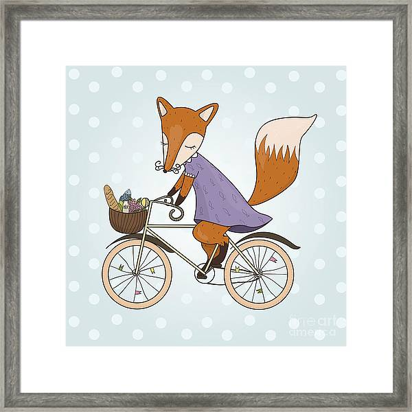 Cute Fox Riding On A Bicycle .bicycle Framed Print by Maria Sem