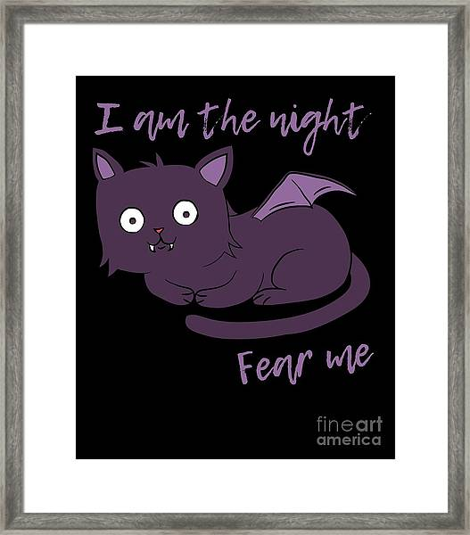 Cute Halloween Cat I Am The Night Fear Me Framed Print