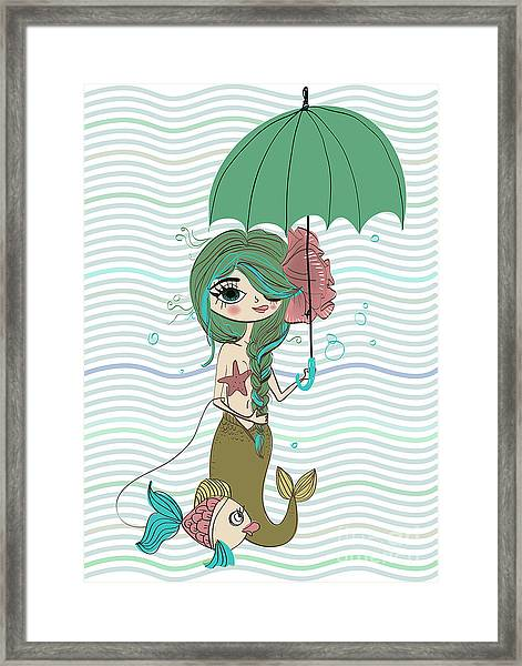 Cute Mermaid With Umbrella Framed Print