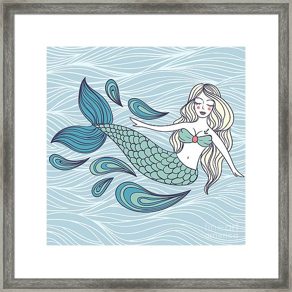 Cute Mystical Mermaid.deep Ocean.vector Framed Print