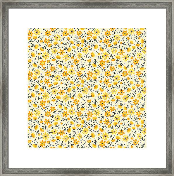 Cute Pattern In Small Flower. Small Framed Print