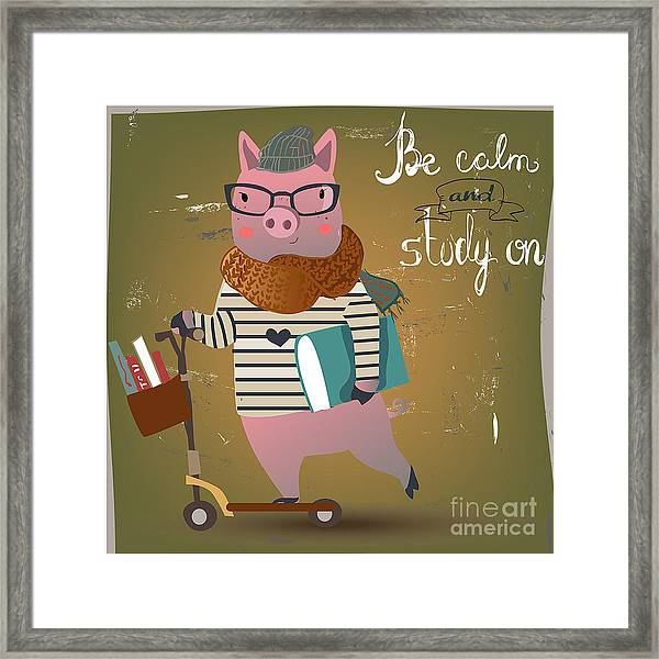 Cute Pig On Scooter Framed Print
