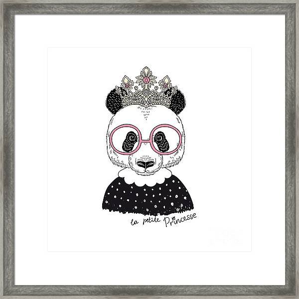 Cute Portrait Of Panda Princess, Hand Framed Print by Olga angelloz