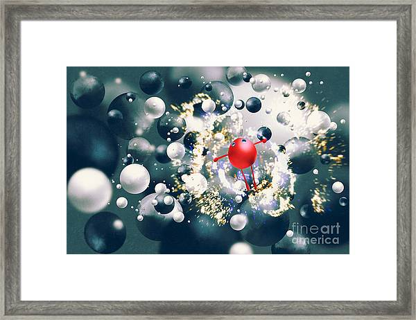 Cute Red Ball Raising Arms Amongst Framed Print