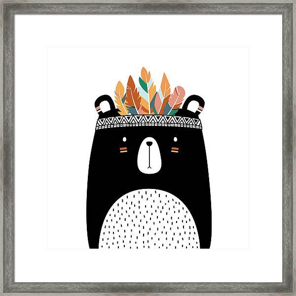 Cute Tribal Bear - Boho Chic Ethnic Nursery Art Poster Print Framed Print