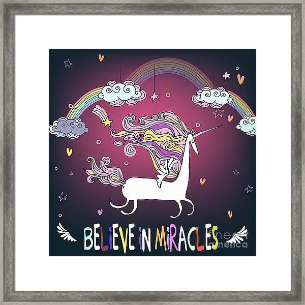 Cute Unicorn With Rainbow Framed Print
