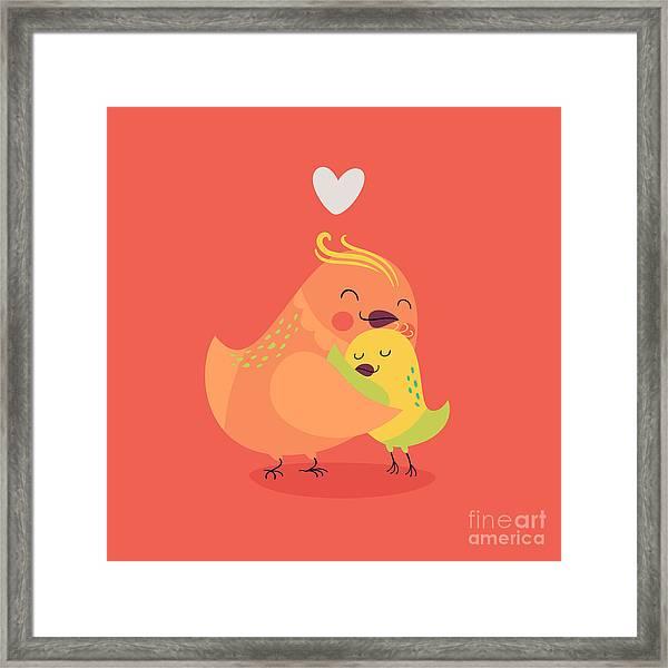 Cute Vector Cartoon Decorative Birds Framed Print by Mascha Tace