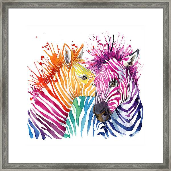 Cute Zebra. Watercolor Illustration Framed Print by Faenkova Elena