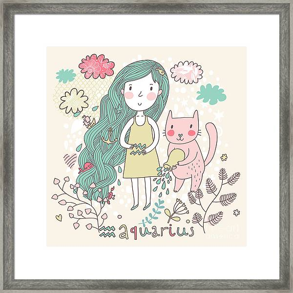 Cute Zodiac Sign - Aquarius. Vector Framed Print