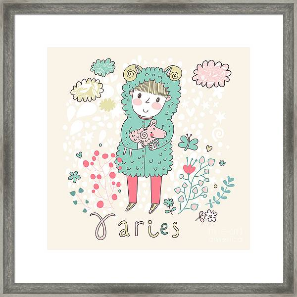Cute Zodiac Sign - Aries. Vector Framed Print
