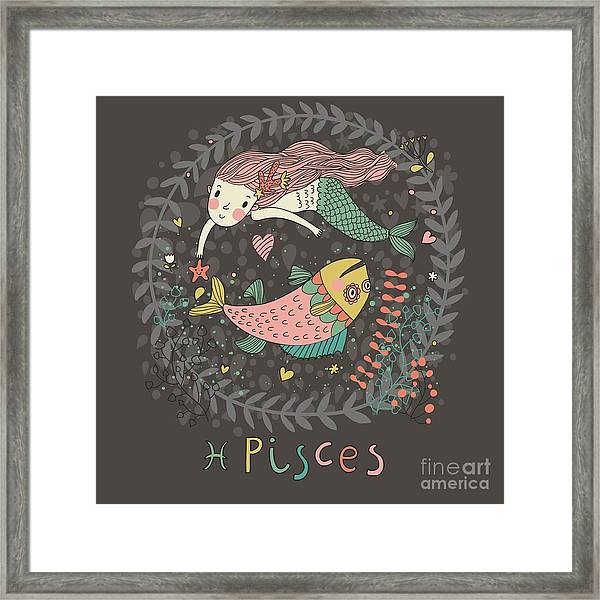 Cute Zodiac Sign - Pisces. Vector Framed Print
