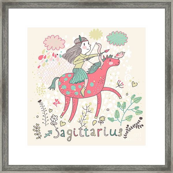 Cute Zodiac Sign - Sagittarius. Vector Framed Print