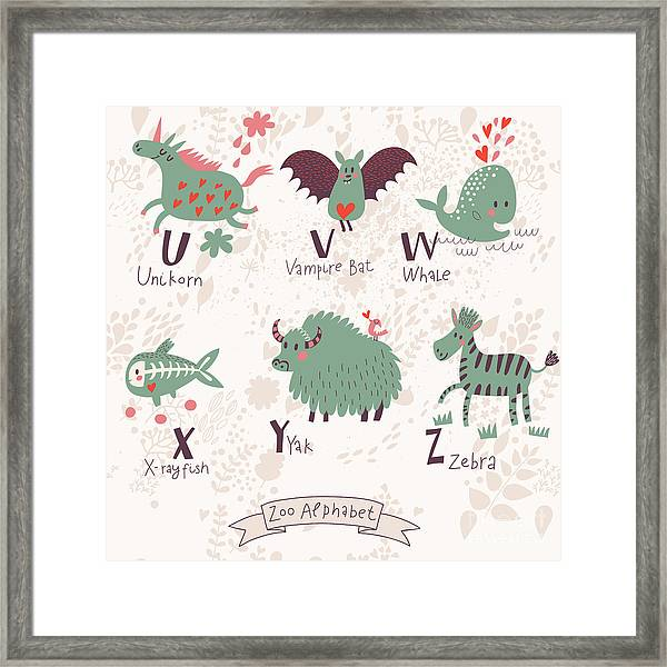 Cute Zoo Alphabet In Vector. U, V, W Framed Print by Smilewithjul