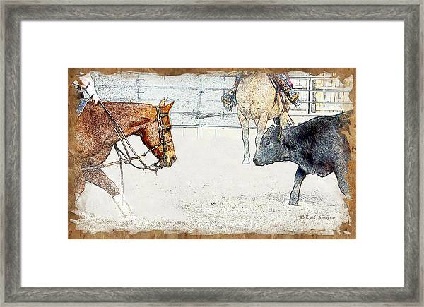 Cutting Horse At Work Framed Print