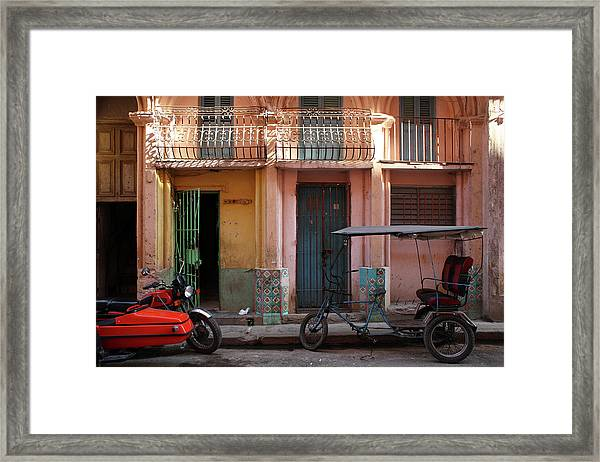 Cycle Taxi And Motorcycle With Sidecar Framed Print