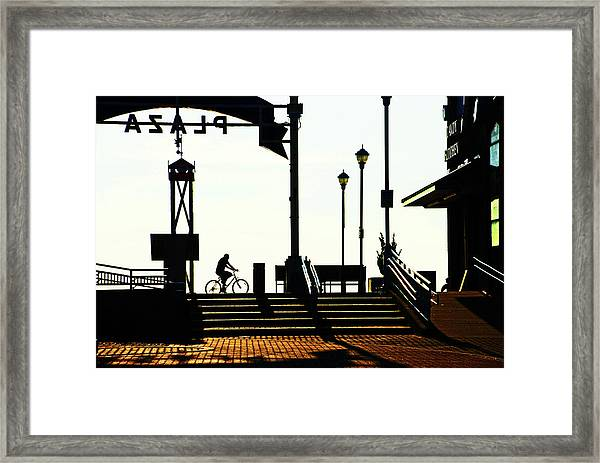 Cyclist At Sunrise, Ocean City Boardwalk Framed Print