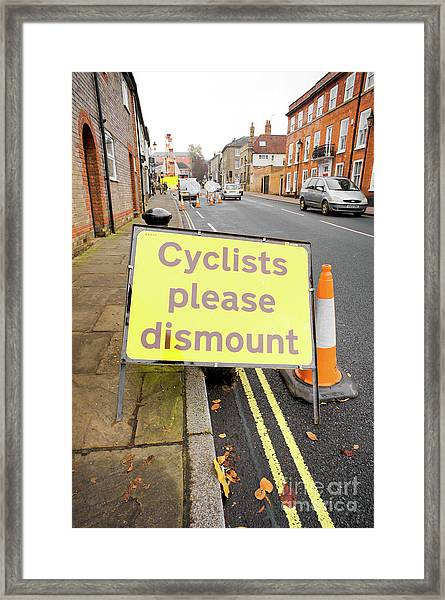 Cyclist Dismount Sign Framed Print