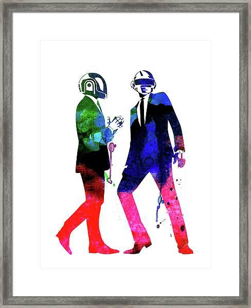 Daft Punk Watercolor Framed Print