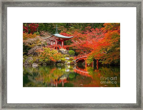 Daigo-ji Temple With Colorful Maple Framed Print