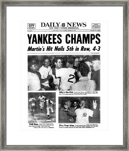 Daily News Back Page Dated Oct. 6, 1953 Framed Print
