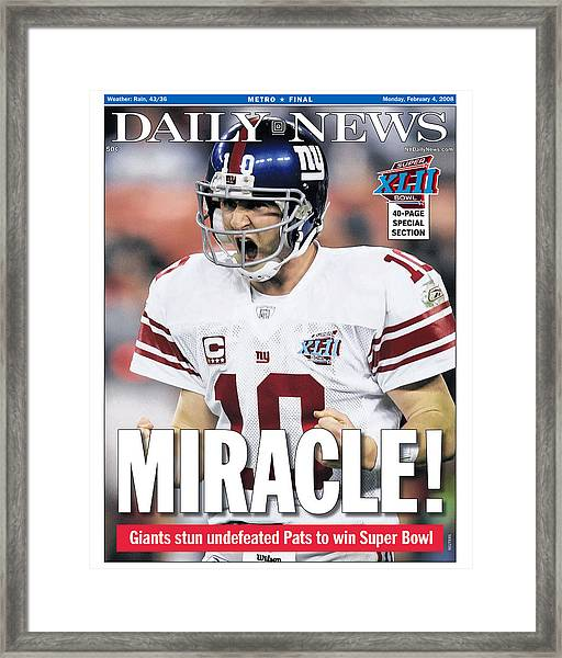 Daily News Front Page February 4, 2008 Framed Print by New York Daily News Archive
