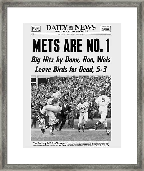 Daily News Front Page October 17, 1969 Framed Print