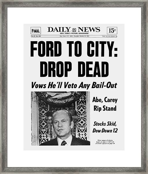 Daily News Front Page October 30, 1975 Framed Print by New York Daily News Archive