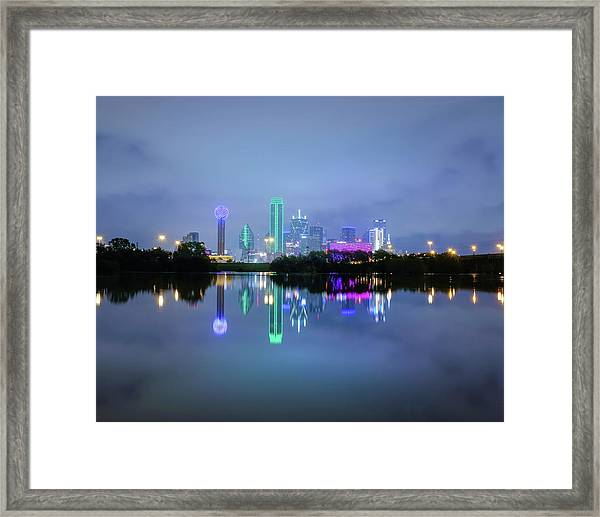 Dallas Cityscape Reflection Framed Print