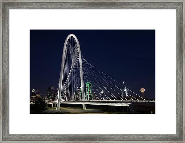 Dallas' Suspension Bridge At Night Framed Print by Dhughes9